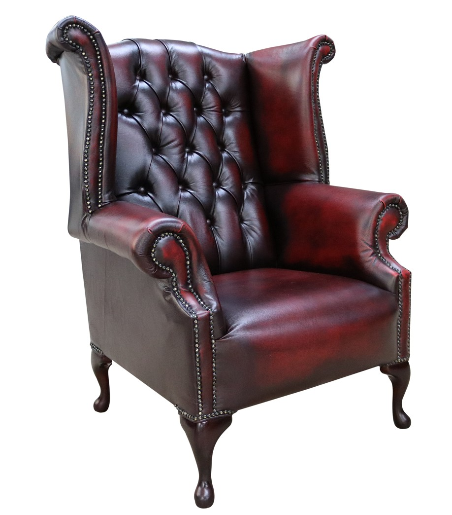Picture of: Antique Red Oxblood Chesterfield High Back Wing Chair Sale