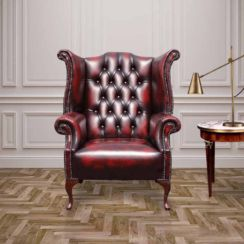 Chesterfield 1780's Queen Anne High Back Wing Chair UK Manufactured Antique Oxblood leather