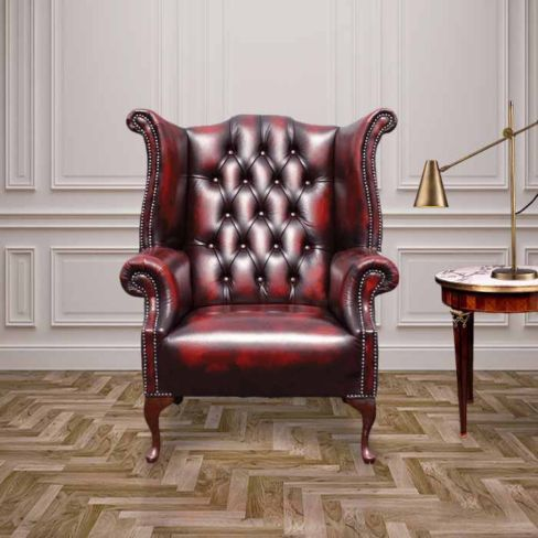 queen anne armchair uk yellow antique red oxblood chesterfield 1780 high back wing chair designersofas4u leather queen anne wingback chairs designer sofas 4u
