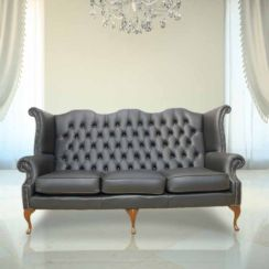 Chesterfield 3 Seater Queen Anne High Back Wing Chair UK Manufactured Black