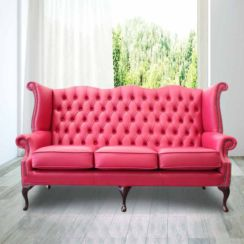 Chesterfield 3 Seater Queen Anne High Back Wing Sofa Anemone Leather UK Manufactured