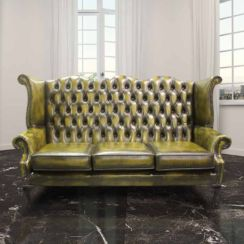 Chesterfield 3 Seater Queen Anne High Back Wing Sofa Chair Antique Gold Leather UK Manufactured
