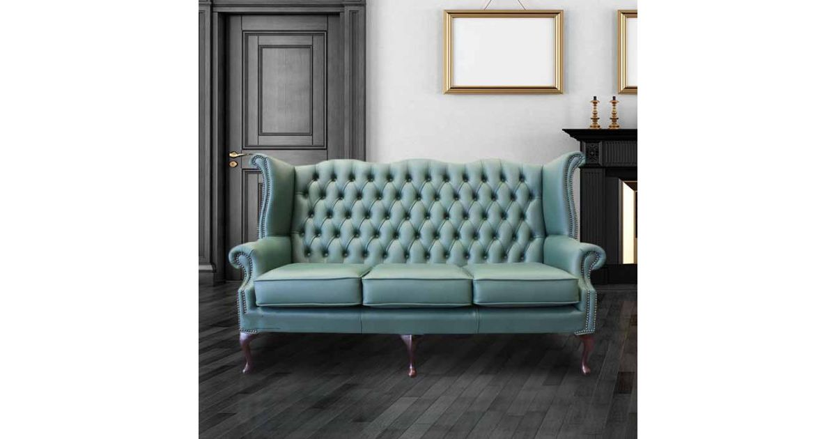 Jade Green Leather Chesterfield 3 Seater High Back Wing