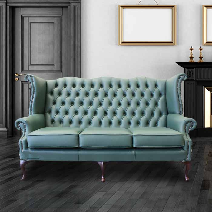 Jade Green Leather Chesterfield 3 Seater High Back Wing Sofa