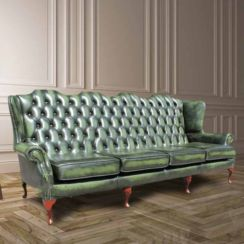 Chesterfield 4 Seater Flat Wing Queen Anne High Back Wing Sofa Antique Green