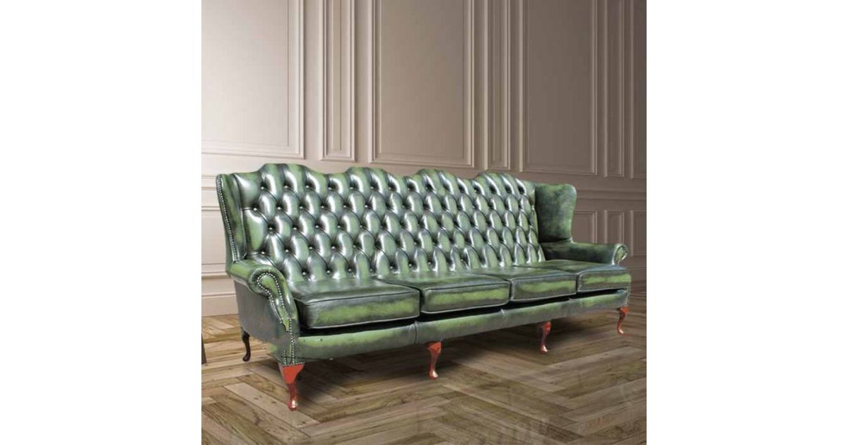 Green Chesterfield 4 Seater High Back Wing Sofa Designersofas4u