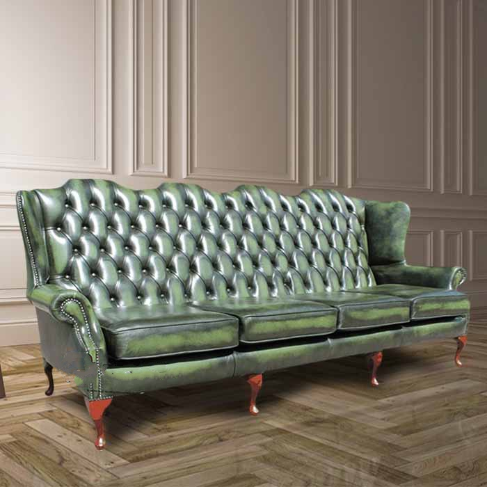 Details about Chesterfield 4 Seater Flat Queen Anne High Back Wing Sofa  Antique Green Leather