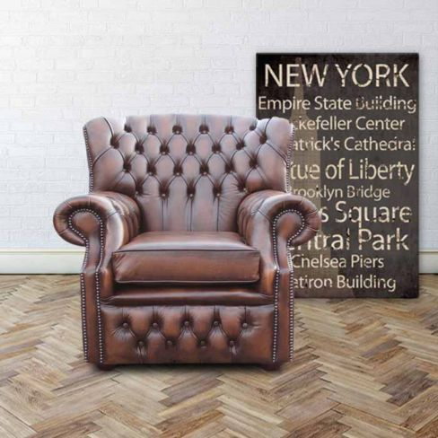 Chesterfield Abbot High Back Wing Chair Antique Brown UK Manufactured Armchair