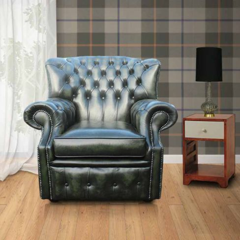 Chesterfield Abbot High Back Wing Chair Antique Green UK Manufactured Armchair