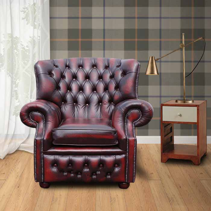 Chesterfield Abbot High Back Wing Armchair Designersofas4u