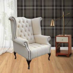 Chesterfield Buttoned Queen Anne High Back Wing Chair Cottonseed Cream Leather