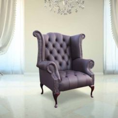 Chesterfield Buttoned Queen Anne High Back Wing Chair UK Manufactured Dark Chocolate