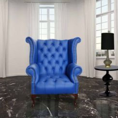 Chesterfield Buttoned Queen Anne High Back Wing Chair UK Manufactured Marine Blue