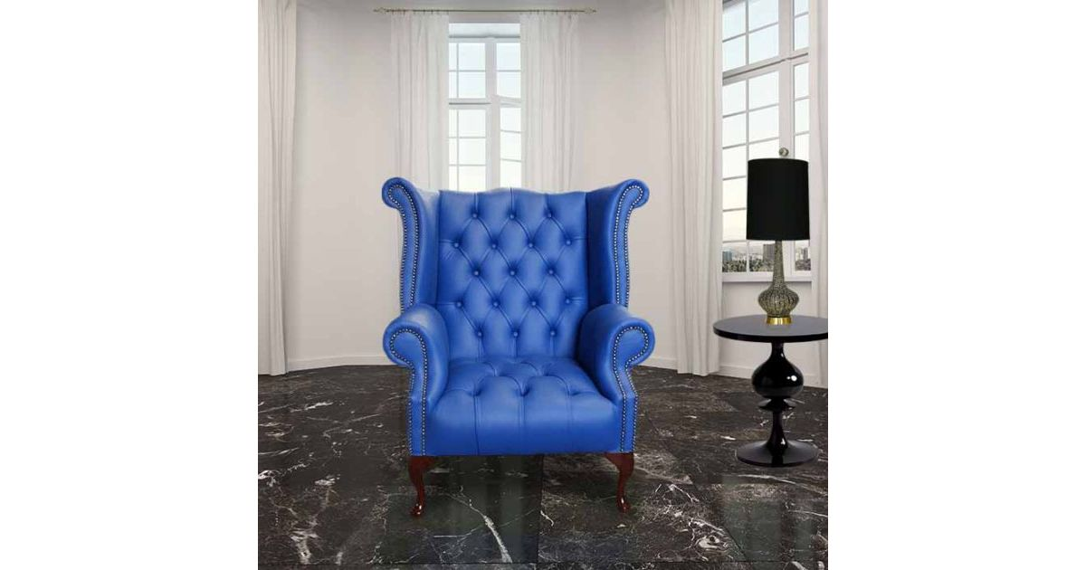Marine Blue Chesterfield High Back Wing Chair
