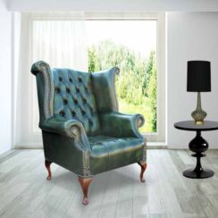 Chesterfield Buttoned Seat Queen Anne High Back Wing Chair UK Manufactured Antique Green