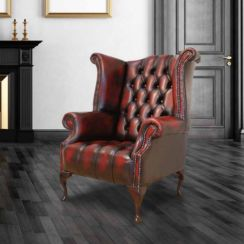 Chesterfield Buttoned Seat Queen Anne High Back Wing Chair UK Manufactured Antique Oxblood leather