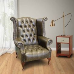 Chesterfield Cavendish Buttoned Seat Queen Anne High Back Wing Chair UK Manufactured Hand Dyed Old English Alga Leather