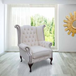 Chesterfield Chatsworth Queen Anne High Back Wing Chair UK Manufactured White