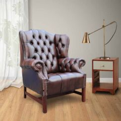 Chesterfield Churchill High Back Wing Chair UK Manufactured Antique Brown