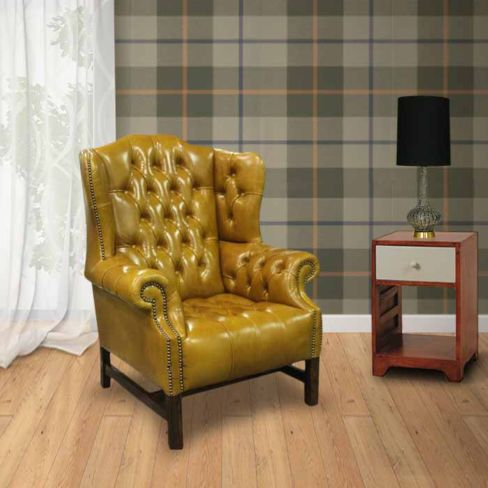Copper Chesterfield High Back Wing Chair Designersofas4u