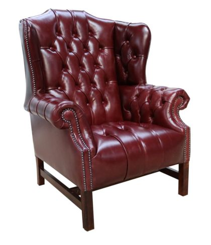 Leather Queen Anne Wingback Chairs Designer Sofas 4u