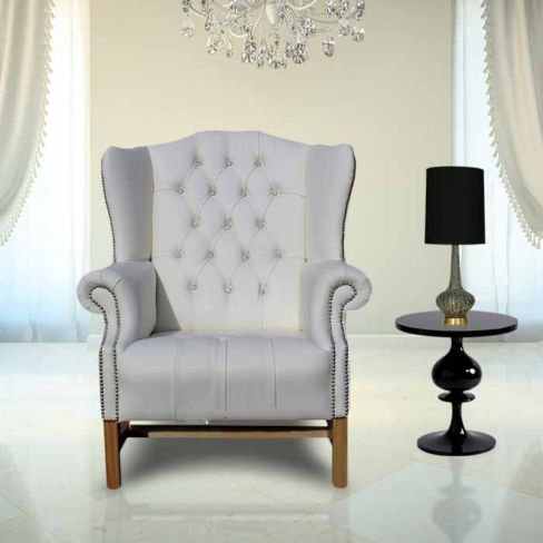 Chesterfield CRYSTALLIZED™ Elements Hamilton High Back Wing Chair White Leather