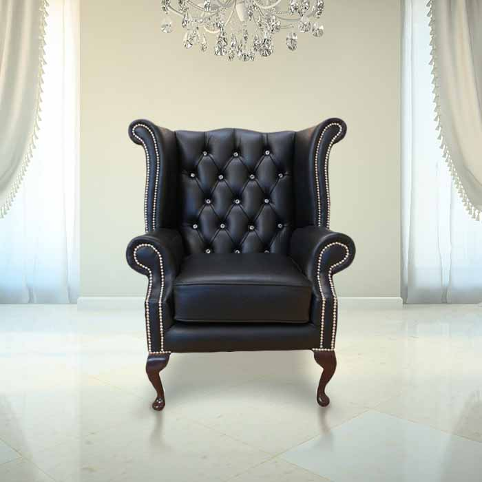 Chesterfield CRYSTALLIZEDÔäó - Swarovski Elements Queen Anne High Back Wing Chair Black Leather