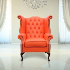 Chesterfield CRYSTALLIZED™ Elements Queen Anne High Back Wing Chair Mandarin Leather