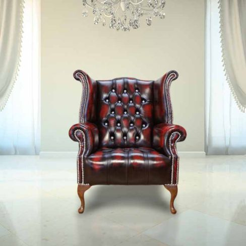 Chesterfield CRYSTALLIZED™ Elements Queen Anne High Back Wing Chair Oxblood Leather