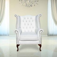 Chesterfield CRYSTALLIZED™ Elements Queen Anne High Back Wing Chair White Leather