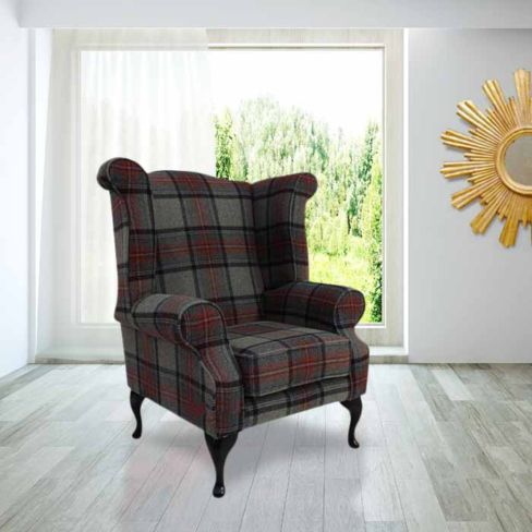 Modern Chesterfield Edward Wool Tweed Wing chair | DesignerSofas4U