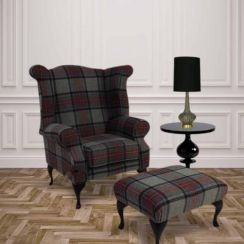 Chesterfield Edward Queen Anne Wool Tweed Wing Chair Fireside High Back Armchair Beningborough Graphite Check + Footstool