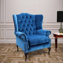 Chesterfield Fabric Mallory Flat Wing High Back Wing Chair Royal Blue