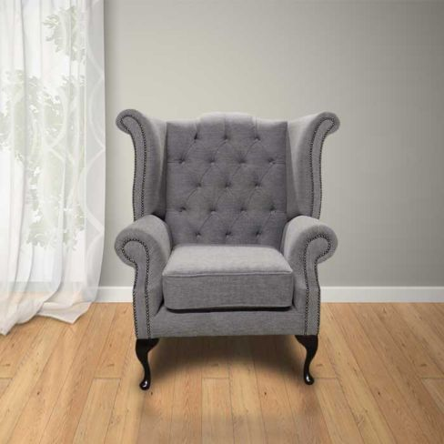 Chesterfield Fabric Newby High Back Wing Chair Verity Plain Steel Fabric