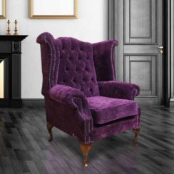 Purple Chenille Velvet Chesterfield Queen Anne Wing chair | DesignerSofas4U