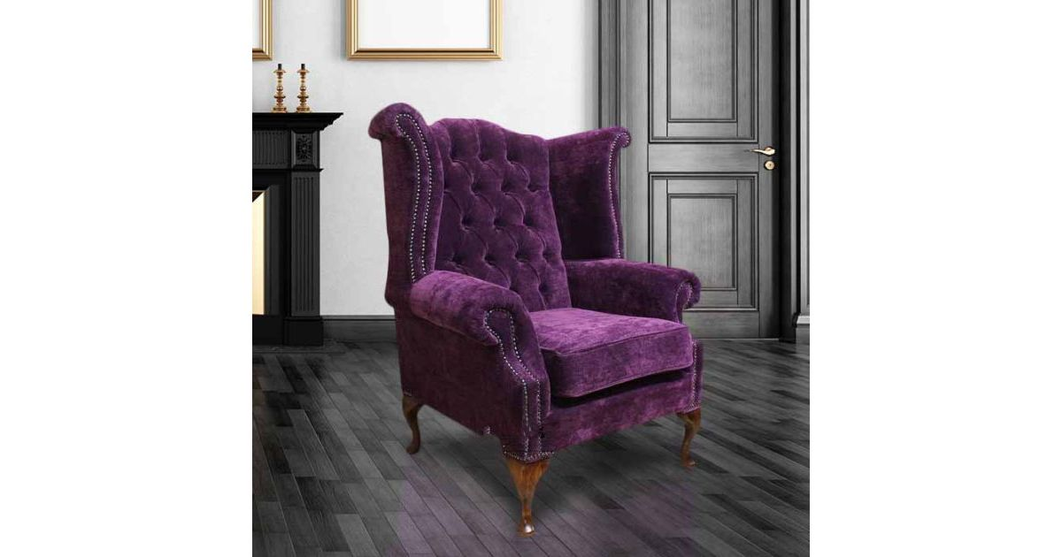 Purple chenille velvet chesterfield queen anne wing chair for Purple chenille sofa