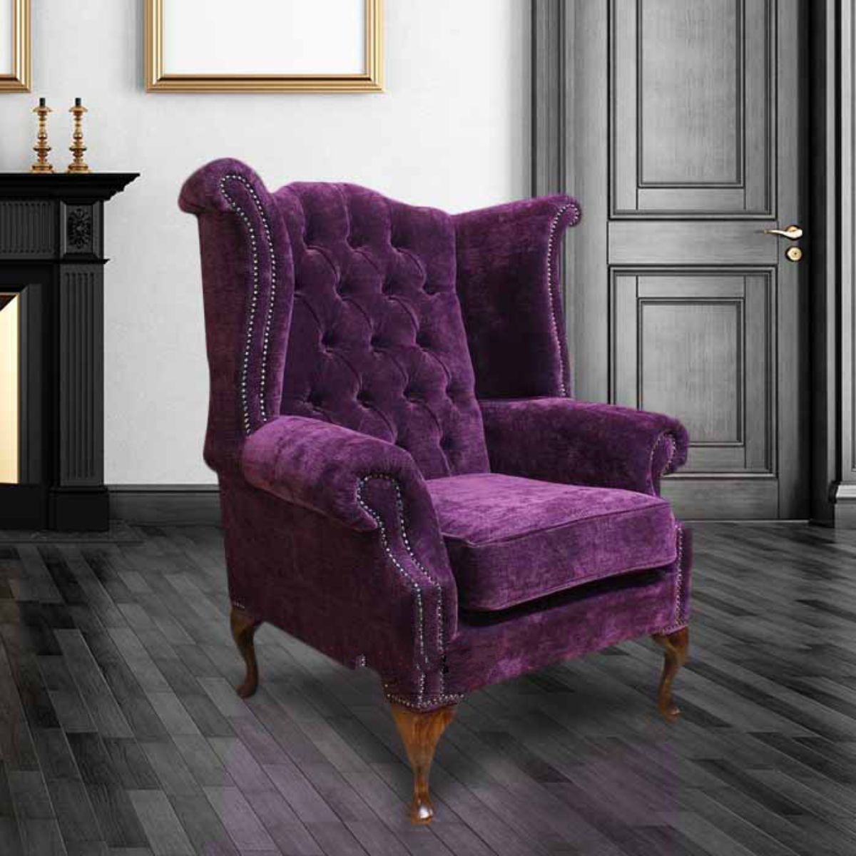 Purple chesterfield queen anne wing chair designersofas4u - High back wing chairs for living room ...