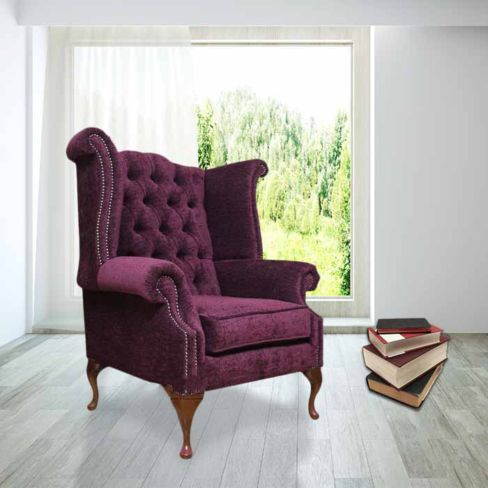 Chesterfield Fabric Queen Anne High Back Wing Chair Aubergine Velvet