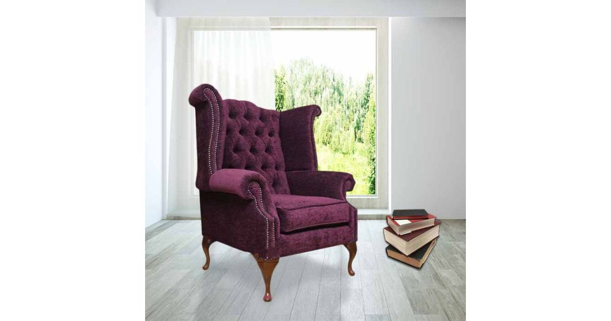 Chesterfield Fabric Queen Anne High Back Chair