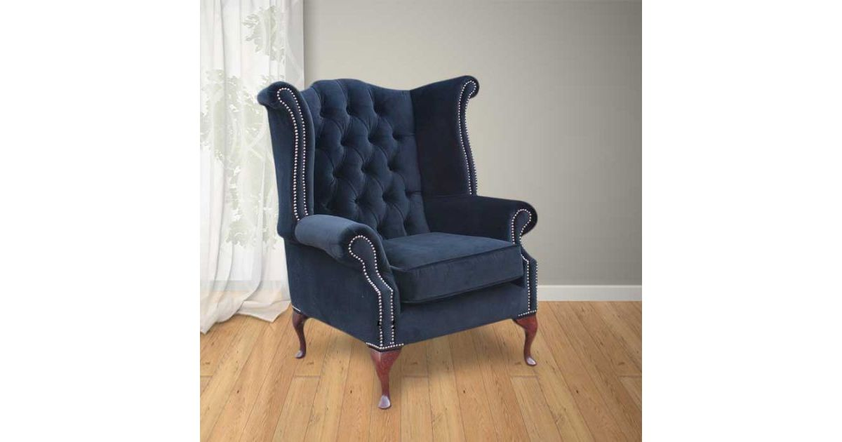 Black Chesterfield Queen Anne High Back Designersofas4u