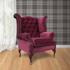 Chesterfield Fabric Queen Anne High Back Wing Chair Pimlico Damson
