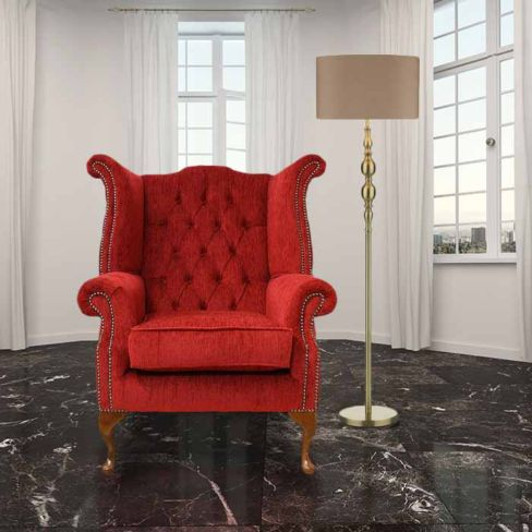 Chesterfield Fabric Queen Anne High Back Wing Chair Velluto Tomato