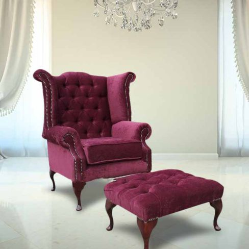 Chesterfield Fabric Queen Anne High Back Wing Chair + Matching Footstool Damson