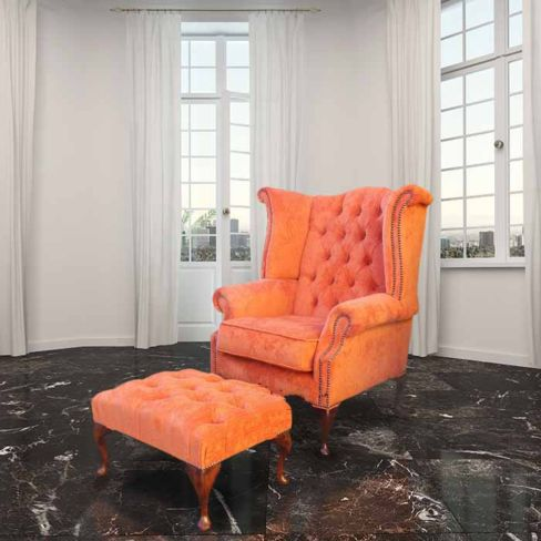 Chesterfield Fabric Queen Anne High Back Wing Chair + Matching Footstool Tangerine Orange