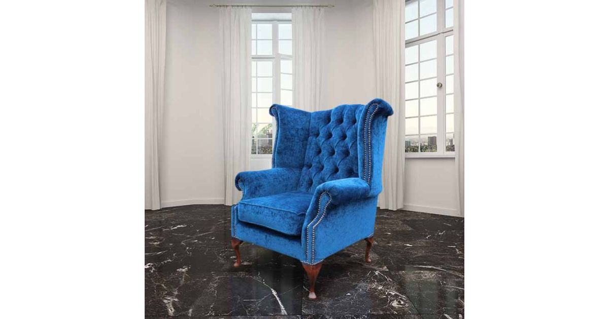 Royal Blue Chesterfield Queen Anne Wing Chair