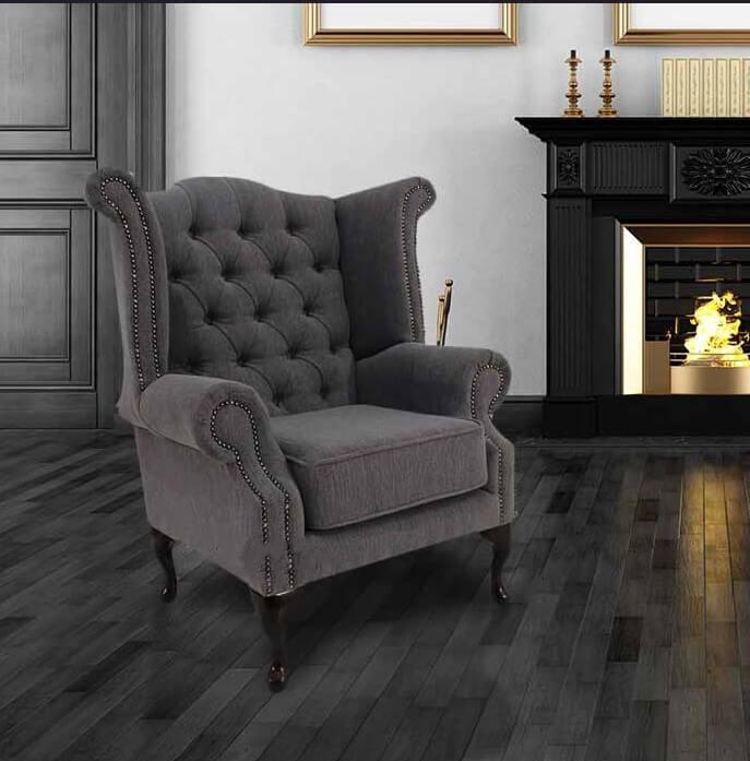 Verity Plain Steel Chesterfield High Back Chair Designersofas4u