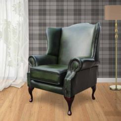 Chesterfield Flat Wing Saxon Mallory High Back Wing Chair UK Manufactured Antique Green