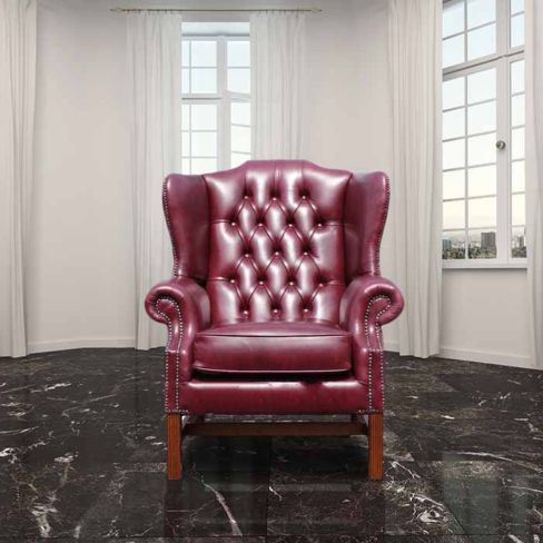 Chesterfield Georgian High Back Wing Chair UK Manufactured Old English Burgandy
