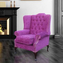 Chesterfield Highclere High Back Fabric Wing Chair Carlton Fuchsia