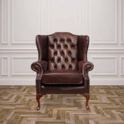 Chesterfield Highclere High Back Wing Chair UK Manufactured Hand Dyed Old English Dark Brown Leather